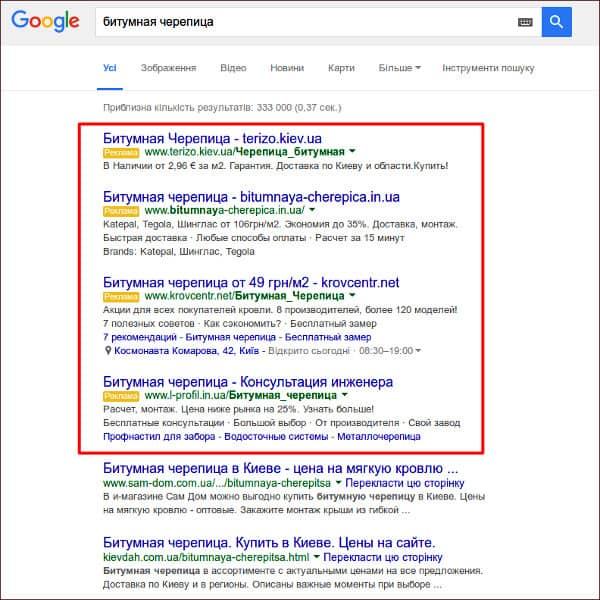 контекстная реклама, пример рекламы adwords, контекска