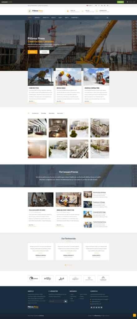Создание сайта строительной компании - WordPress