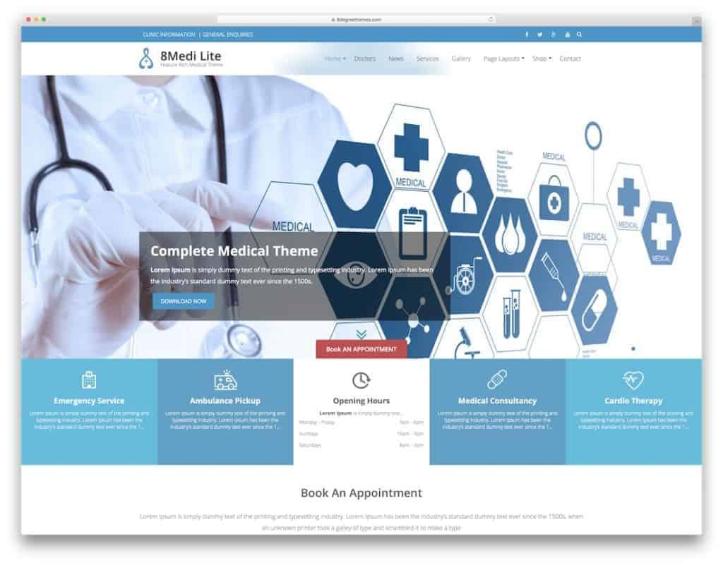 Создание создание медицинского сайта - Шаблон Вордпресс
