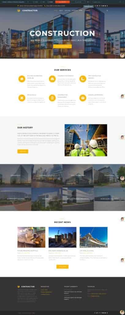 Создание сайта строительной компании - Шаблон Вордпресс